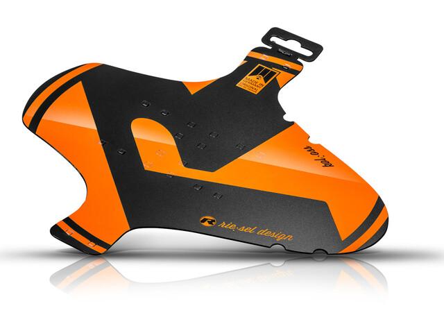 "Riesel Design kol:oss Front Mudguard 26-29"", zwart/oranje"
